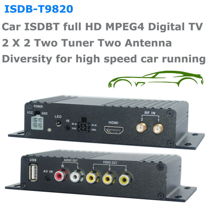 Car ISDB-T Two tuner Two Antenna receiver