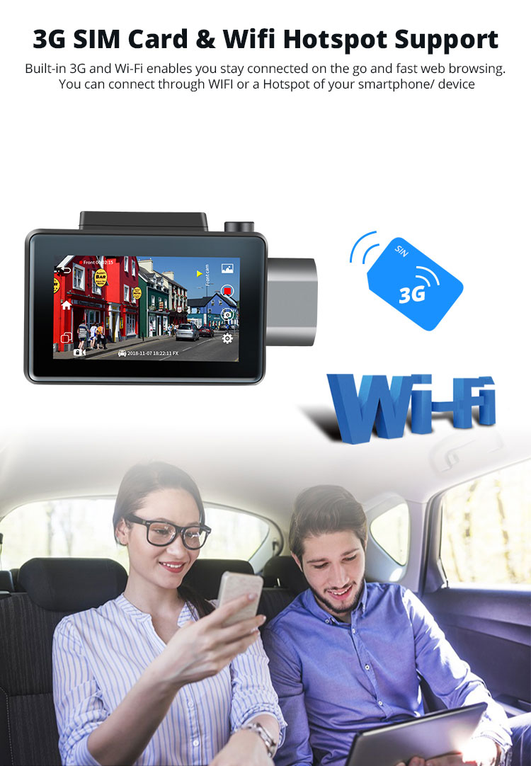 Android Dash Cam Car DVR Camera GPS Logger 3G WiFi Dual Lens WDR Video Recorder 5.1 Rearview smart blackbox Vcan1608